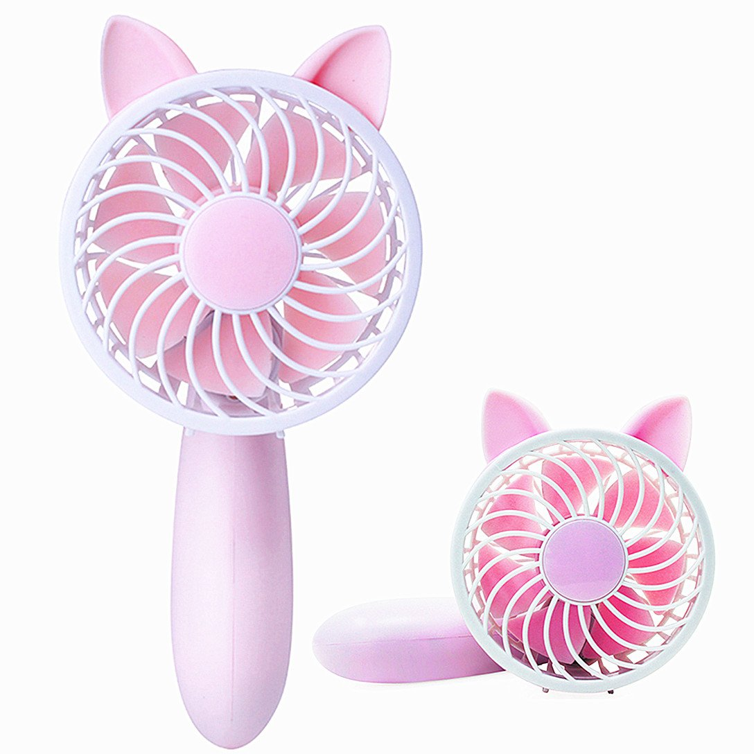 abcGoodefg Portable Mini Fan Handheld Misting Fan Cute Table Desk Cooling Fan for Home Office Traveling Camping Outdoor Activities (Pink)