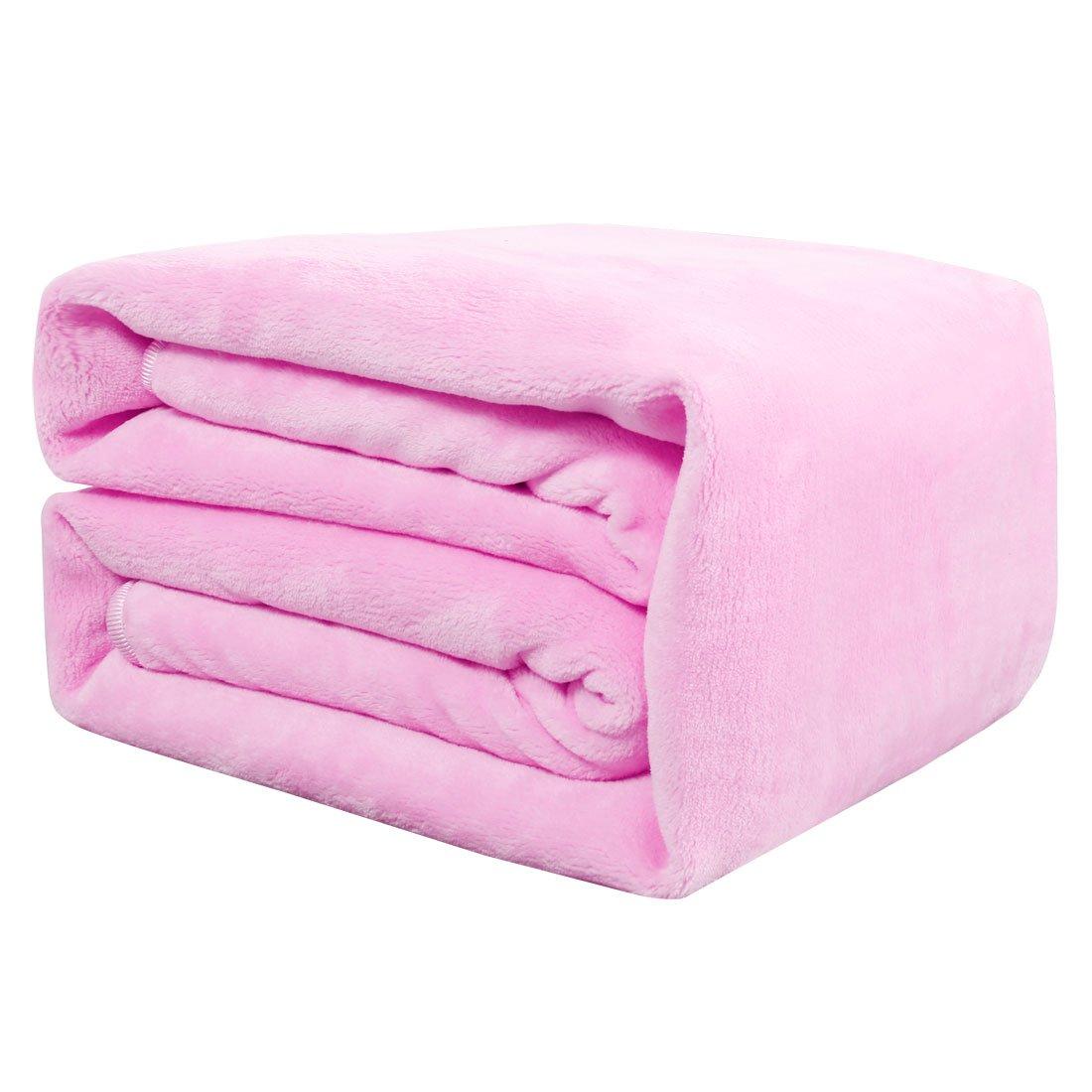 uxcell Flannel Fleece Blanket Super Soft Lightweight Warm Fuzzy Throw Couch Bed Blanket Pink 200cm x 230cm