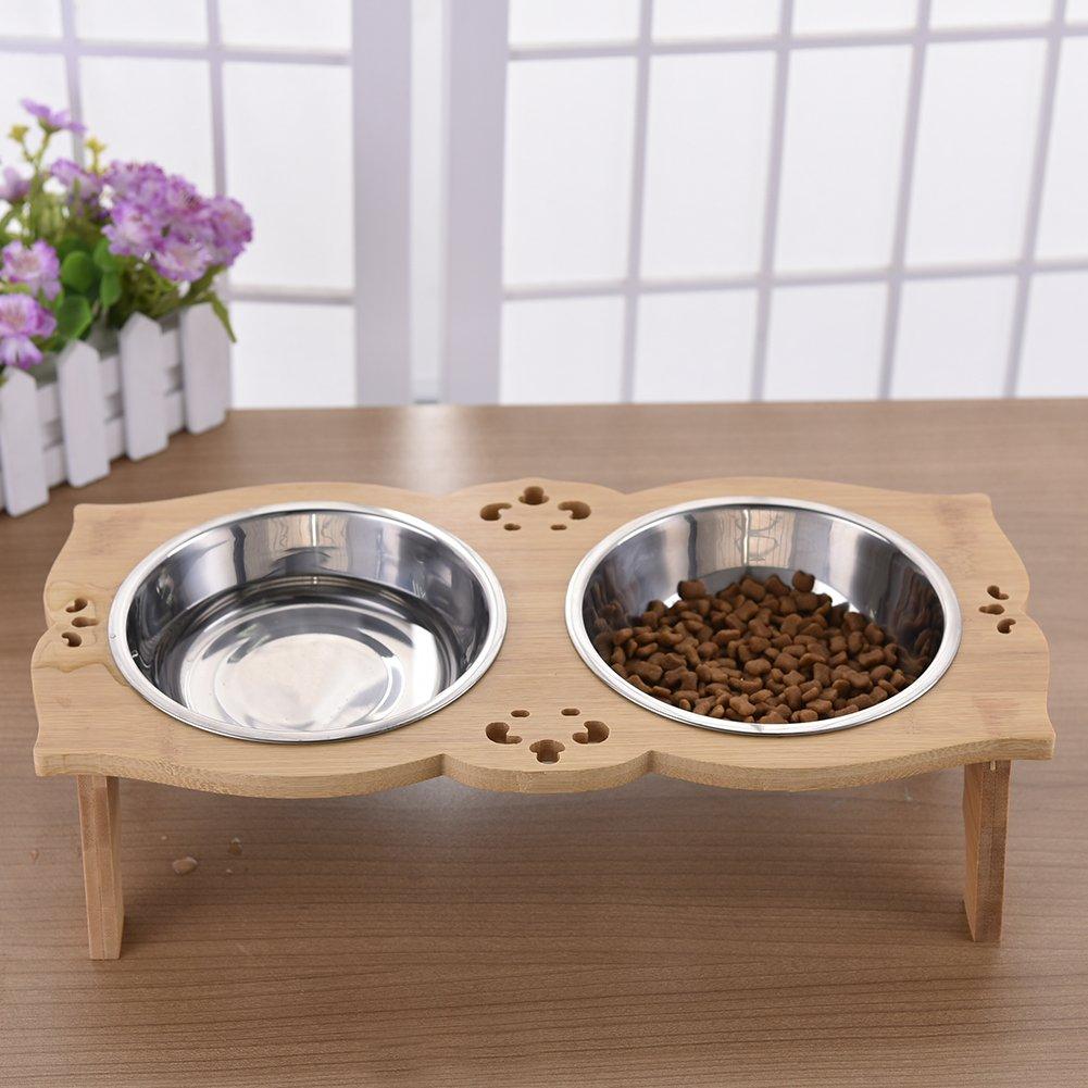 Yuncai Antiscivolo Stent di Bamb/ù Piatti per Cani Gatti Acciaio Inox Animali Domestici Ciotola S