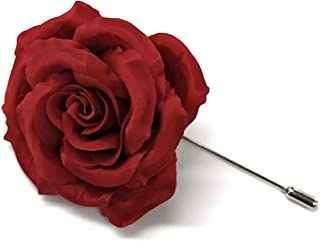 product image for Rose Flower Lapel Boutonniere Pin - Men's Flower Lapel Pin - Satin Flower Artificial Flower with Stick Pin - Made in New York