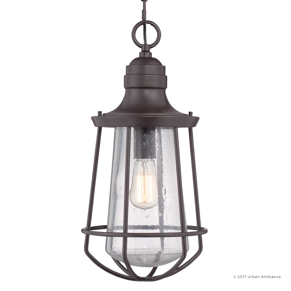 Luxury Vintage Outdoor Pendant Light, Large Size: 20''H x 9.5''W, with Nautical Style Elements, Cage Design, Estate Bronze Finish and Seeded Glass, Includes Edison Bulb, UQL1125 by Urban Ambiance