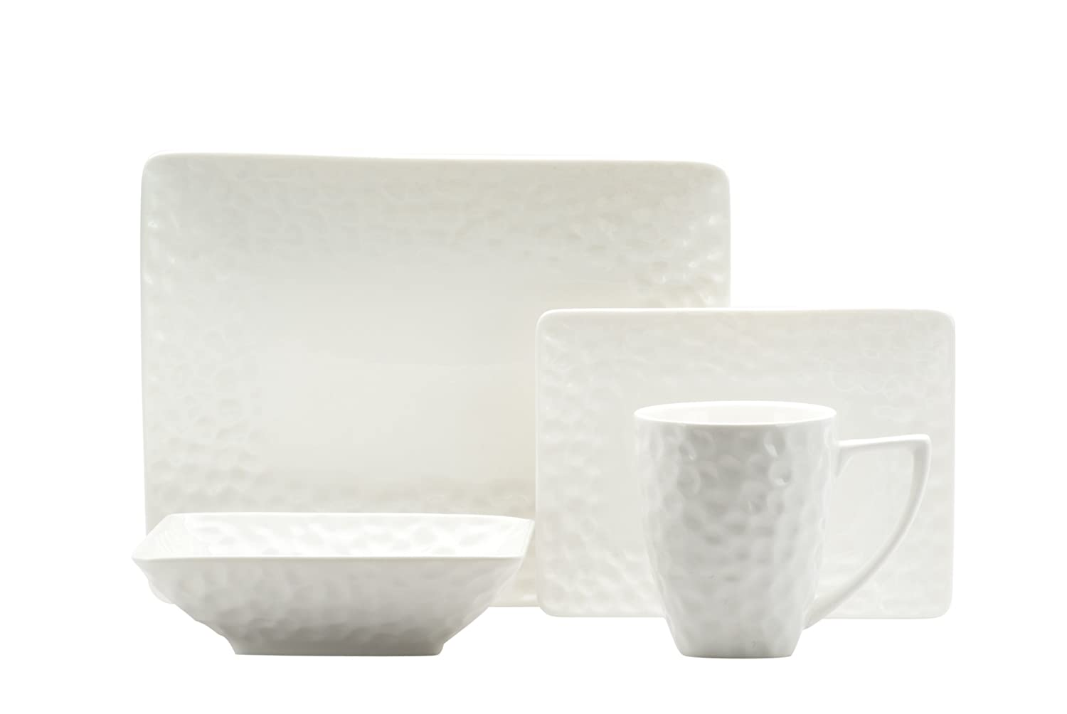 White Marble 16-Pc Rectangular Dinnerware Set