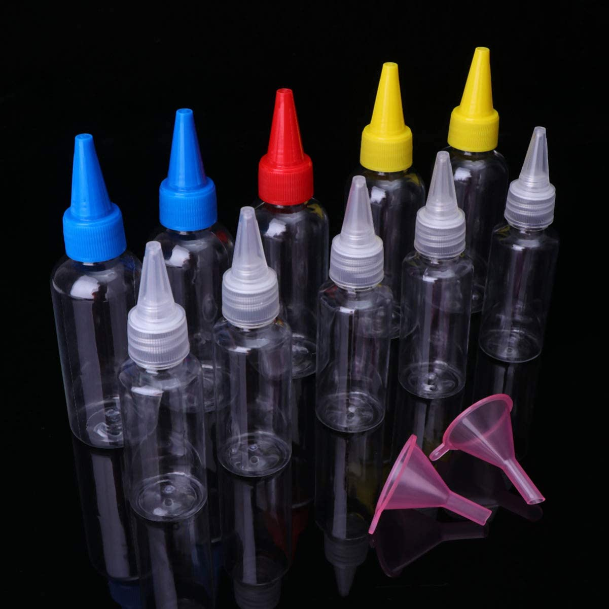 Random Color UPKOCH 20pcs Small Plastic Squeeze Bottles for Sauce Condiments Dressing Paint Olive Oil BBQ with Twist On Cap Lids 10pcs 30ml+10pcs 60ml