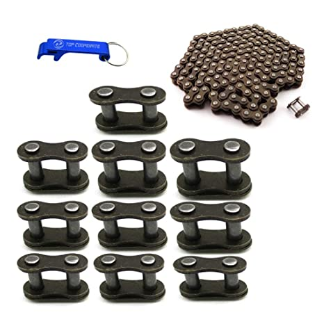 TC-Motor Chain With Extra 10pcs Spare Master Link For 2 Stroke 43cc 47cc 49cc Mini ATV Quad Dirt Super Pocket Bike (25H Chain 158 Links With Extra ...