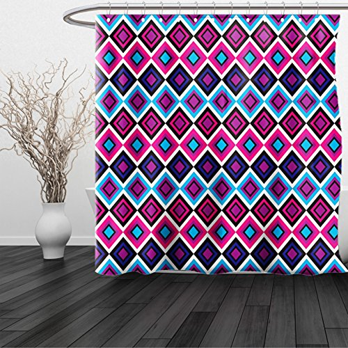 Kansas Printed Curtain Panels (HAIXIA Shower Curtain Navy and Blush Geometrical Diamond Line Pattern Retro Nostalgic Psychedelic Design Magenta Purple Blue)