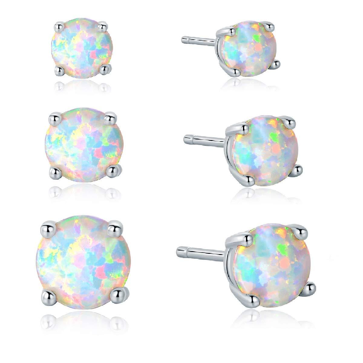 GMESME 925 Sterling Silver Round Created Opal 6mm Birthstone Stud Earrings GEMSME E853S