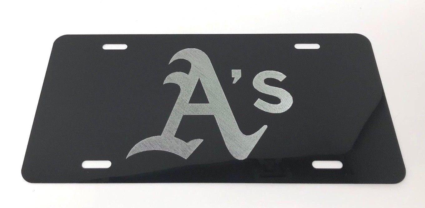 LSU Logo Car Tag Diamond Etched on Black Aluminum License Plate