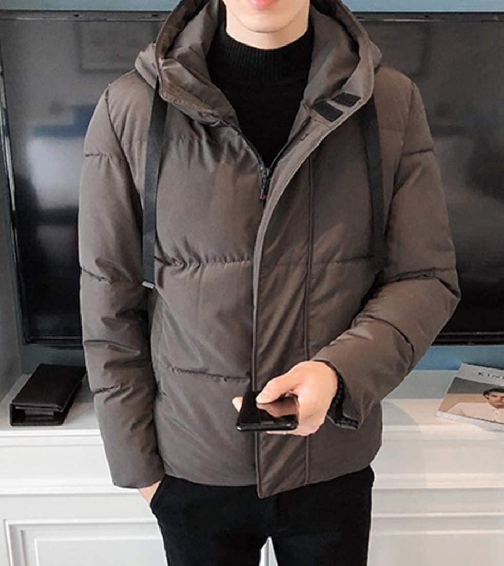 Andopa Mens Casual Pea Coat Hooded Thickened Quilted Puffer Parka Jacket