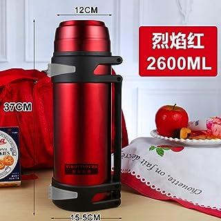 LIILLZ Mug Grande Capacité Isolation Pot Thermos en Plein Air Portable De Voyage Bouilloire Rouge 2600Ml