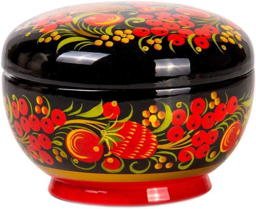 Hand painted box Jewelry box Khokhloma painting Russian traditional art wooden box