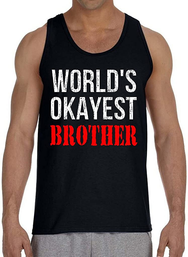 Interstate Apparel Mens Worlds Okayest Brother TV34 Sleeveless Vest Hoodie