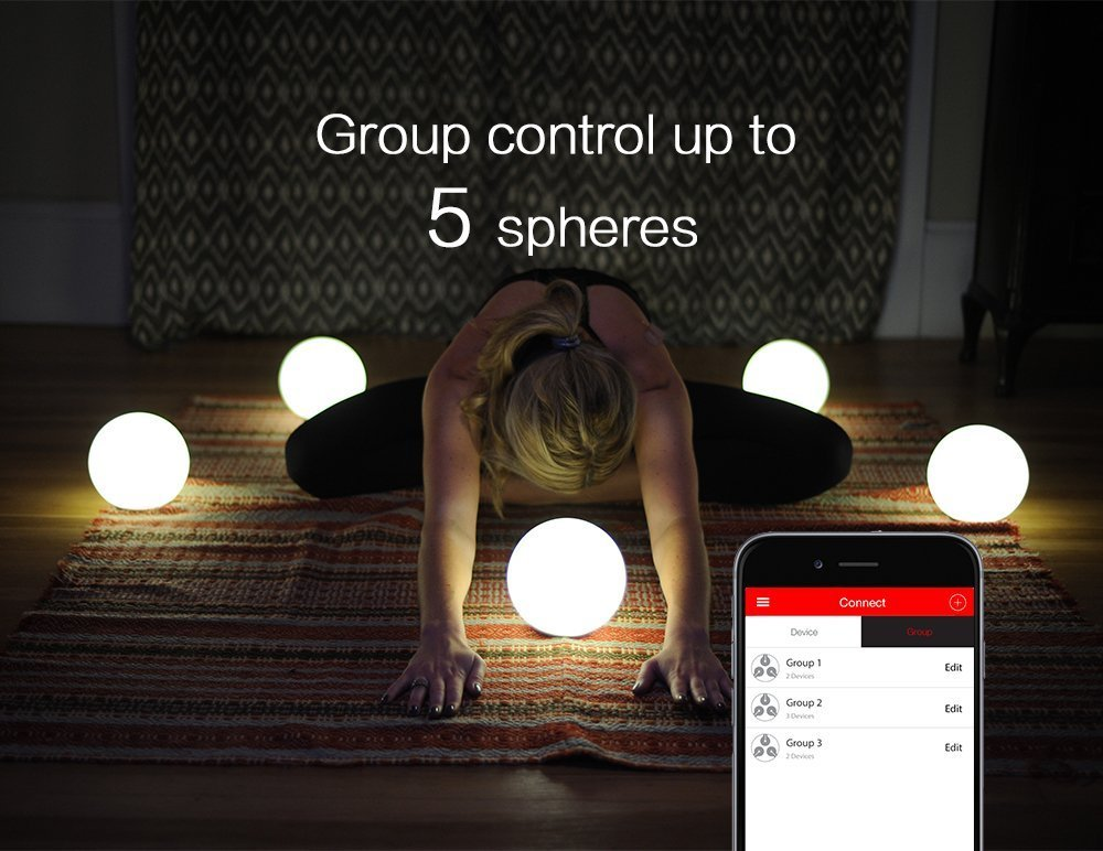 MIPOW PLAYBULB Sphere Bluetooth Smart Color Changing Night Light, Waterproof Touch Sensitive Dimmable LED Glass Orb Bulb with APP control, Wireless Charging Solution, Ideal for Home Bedroom Patio by MIPOW (Image #6)