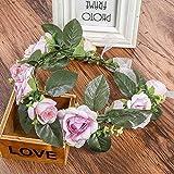 Summer Women Wedding Floral Crown Head Band Floral Head Wreath Flower Headband Bridesmaid Bridal Garland Forehead Pink