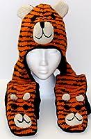 Fairhats - Set Bonnet + Echarpe + Gants de couleur orange Caractère Tigre, Tricoté dans un style Népalais