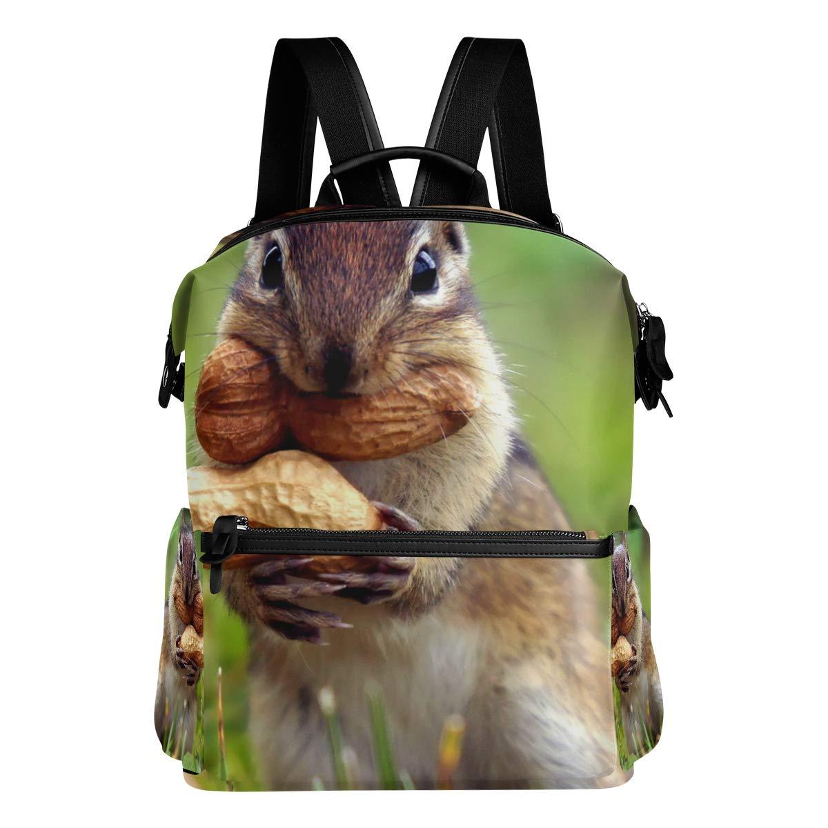 FAJRO - Zaino da viaggio per la scuola con scoiattoli, motivo  Eat Peanuts