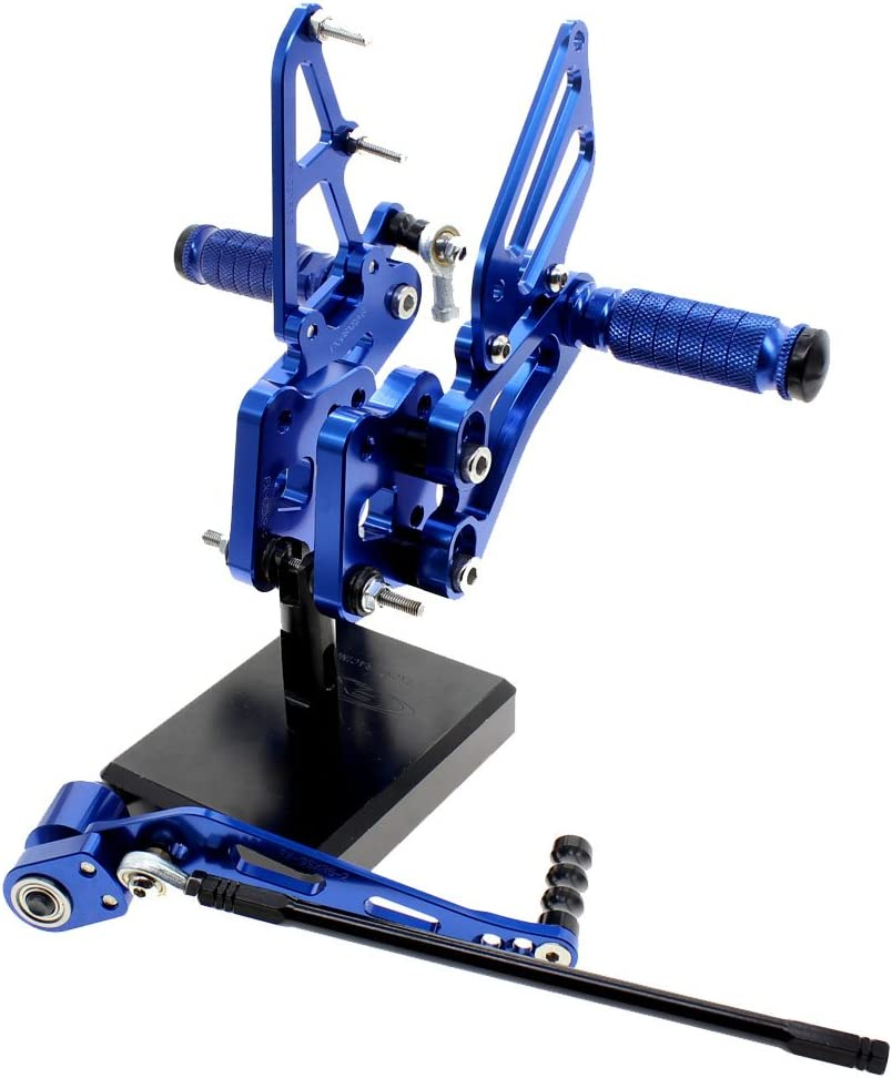 FXCNC Racing Billet Motorcycle Rearset Foot Pegs Rear Set Footrests Fully Adjustable Foot Boards Fit For Suzuki GSXR600 GSXR750 2006-2010 Blue