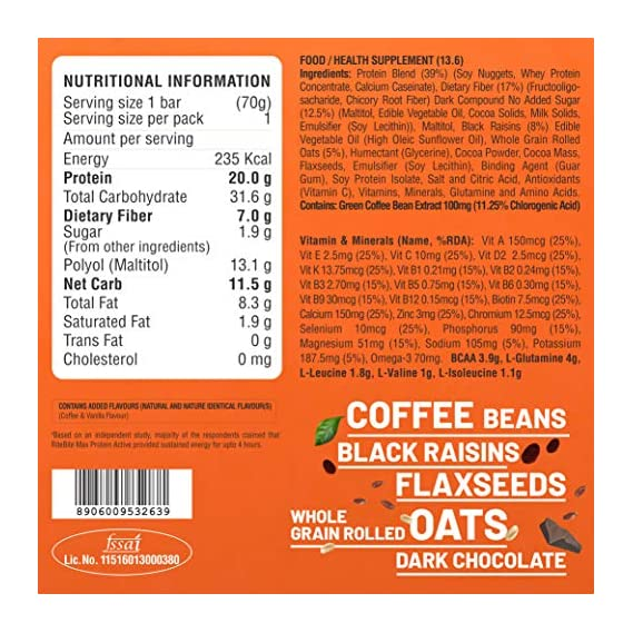 RiteBite Max Protein Active Green Coffee Beans Bars 420g - Pack of 6 (70g x 6)