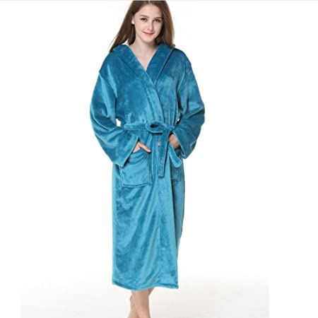LUXURY Bathrobe Ladies Towelling Bath Robe 100% Cotton Hooded Deep Patch  Pockets Bathrobe Dressing Gown ... 3beaf38c6