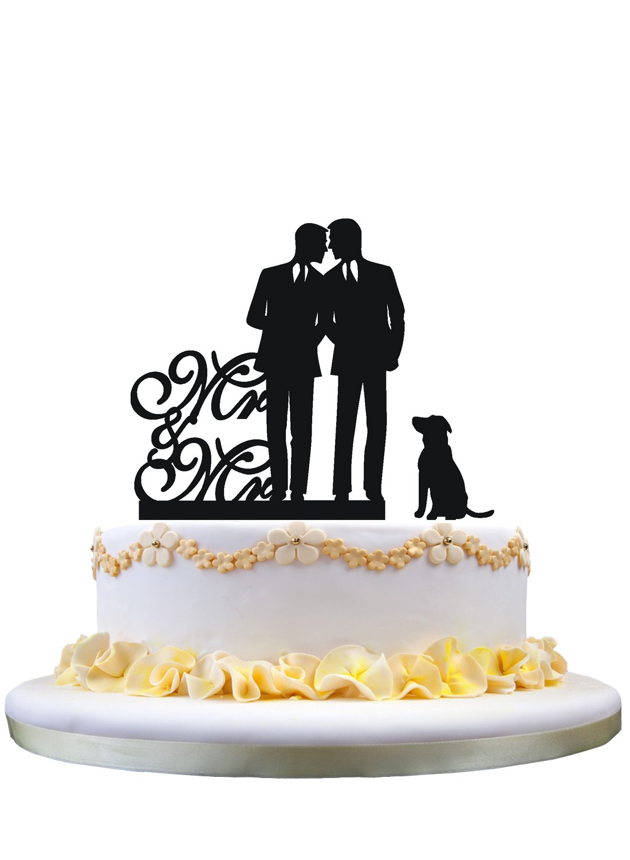 tomamos a los clientes como nuestro dios Topper gay de la torta de de de boda con el topper de la torta del perro, del sr y del mr  comprar nuevo barato