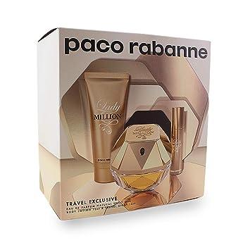 80a04454e Amazon.com   Paco Rabanne Lady Million 3 Pc. Gift Set (Eau De Parfum Spray  + Sensual Body Lotion + Travel Spray) for Women