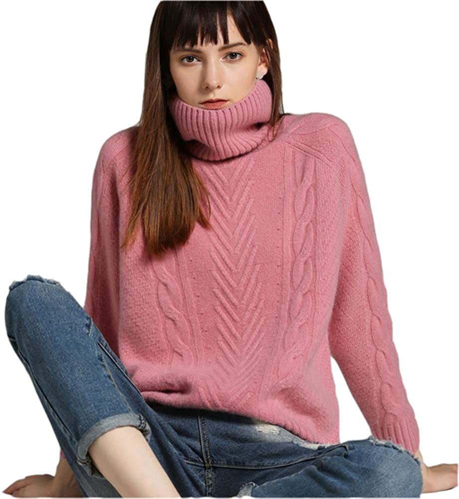 QINJLI Winter high Neck Cashmere Sweater Women Pullover Cropped Slouchy Thickened Loose Knit Sweater