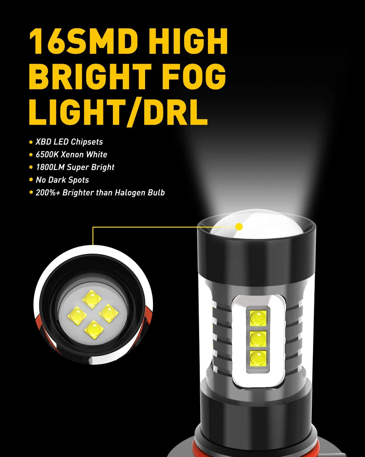 AUXITO H10 9140 9145 LED Fog Light Bulbs Max 80W High Power Extremely Bright 1800 Lumens 6500K Xenon White Replace for Fog Light or DRL,Pack of 2