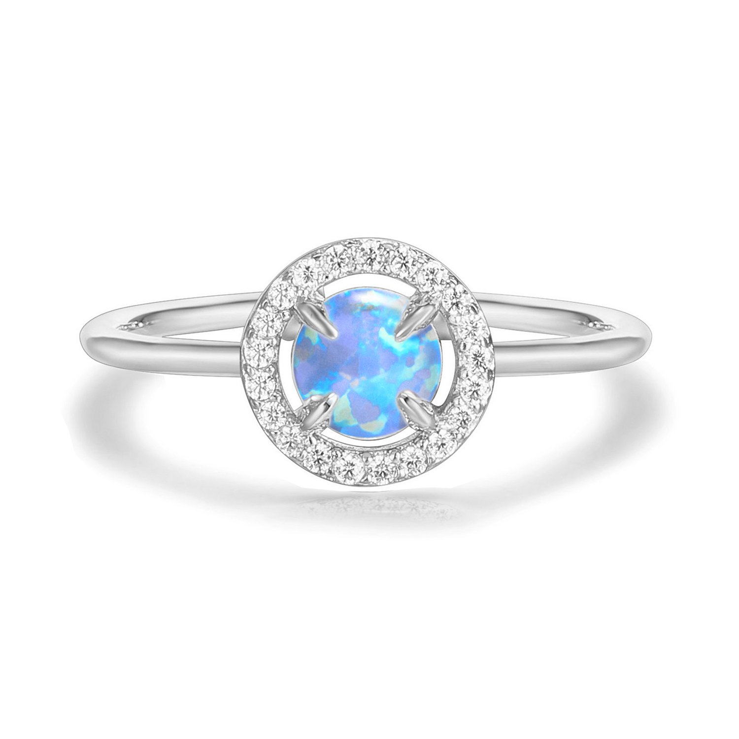 PAVOI 14K White Gold Plated CZ and Light Blue Created Opal Ring