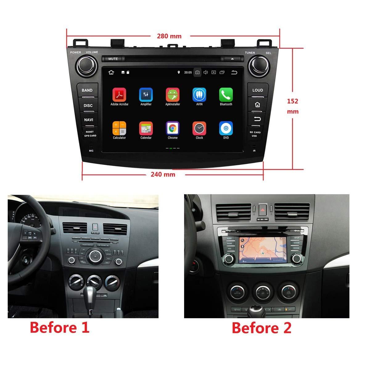 8 Pulgadas 2 DIN Coche Radio Android 8.1 OS para Mazda 3 2010 2011 2012 2013,Dab+ Radio 1024x600 Pantalla Táctil Capacitiva con Quad Core 1.5G CPU 16G Flash ...