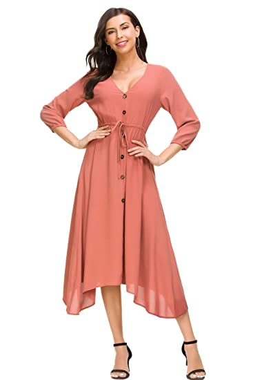 Cantonwalker Women s Dress Deep V-Neck Casual 2018 Summer 3 4 Sleeve Beach  Dress bd5ada5d9df7