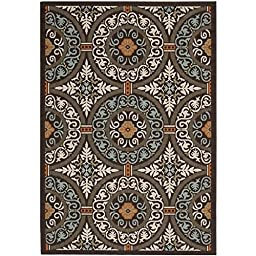 Safavieh Veranda Collection VER055-0723 Chocolate and Aqua Runner, 2 feet 3 inches by 8 feet (2\'3\