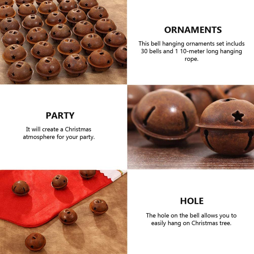 HEALLILY 30pcs Rusty Christmas Jingle Bells with Star Cutout Mental Jingle Bells for Wreath Holiday Home Christmas Decor