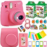 #5: FujiFilm Instax Mini 9 Instant Camera + Fuji Instax Film (40 Sheets) + Accessories Bundle - Carrying Case, Color Filters, Photo Album, Stickers, Selfie Lens + MORE (Flamingo Pink)