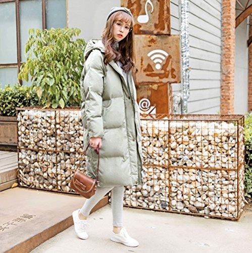 sections sur femmes le capuchon hiver zippées Veste chauds couleur longues duvet M taille pour avec Nz rose manteau en vert CwwBxq7v