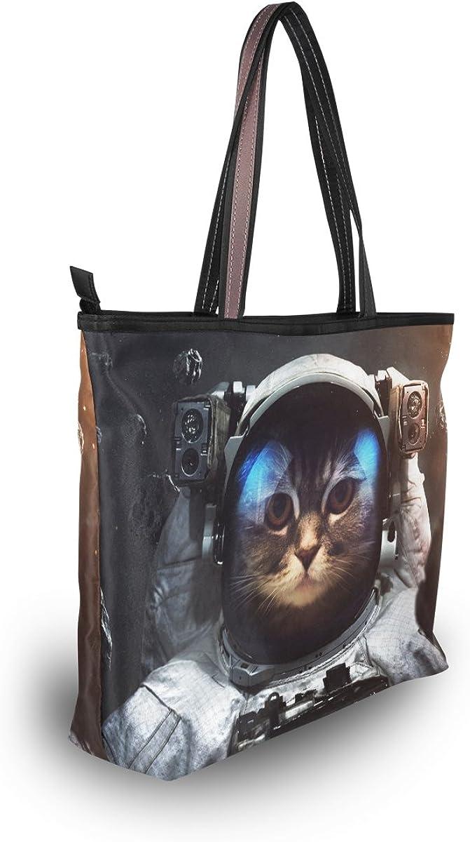 My Daily Women Tote Shoulder Bag Space Brave Cat Astronaut Handbag