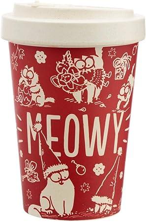 400ml Eco Friendly Bamboo Reusable Travel Mug Tea Coffee Cup Simon's Cat Christmas