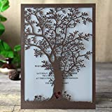 Rustic Tree Wedding Invitation, Laser Cut Tree Invitations, Brown Wedding Invitation Cards- Pack of 50