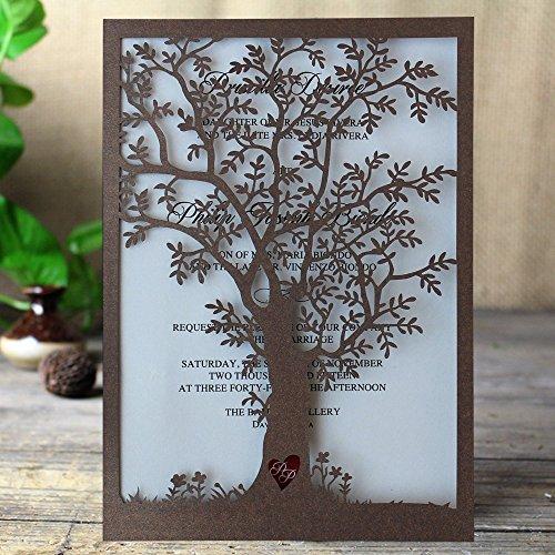 Rustic Tree Wedding Invitation, Laser Cut Tree Invitations, Brown Wedding Invitation Cards- Pack of (Tree Wedding Invitations)