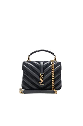 801769aaea3e Image Unavailable. Image not available for. Color  Yves Saint Laurent  Medium Black College Patchwork Suede Leather Shoulder Bag New