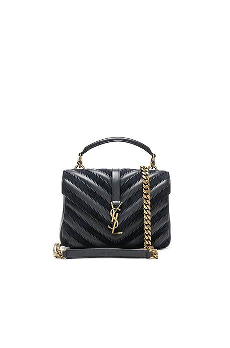 0cae75ca3c3e Yves Saint Laurent Medium Black College Patchwork Suede Leather Shoulder Bag  New  Amazon.ca  Shoes   Handbags