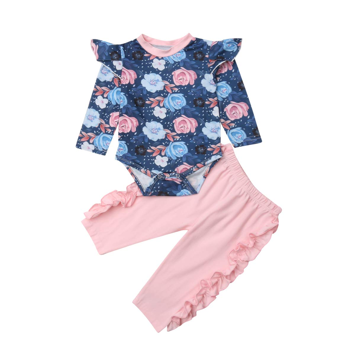 Glücklicher Käufer Unisex Baby Bodysuit Overall Floral Baumwolle Infant Casual Romper+Hose 2pc Ruffle Outfits Set