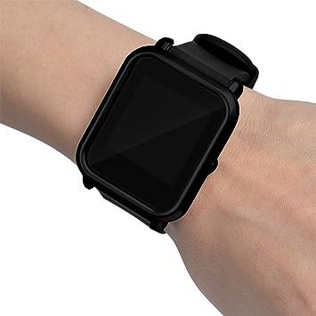 Moda Slim Colorido Marco Caso Cubierta Proteger Shell para Xiaomi Huami Amazfit bip younth Watch (Negro)