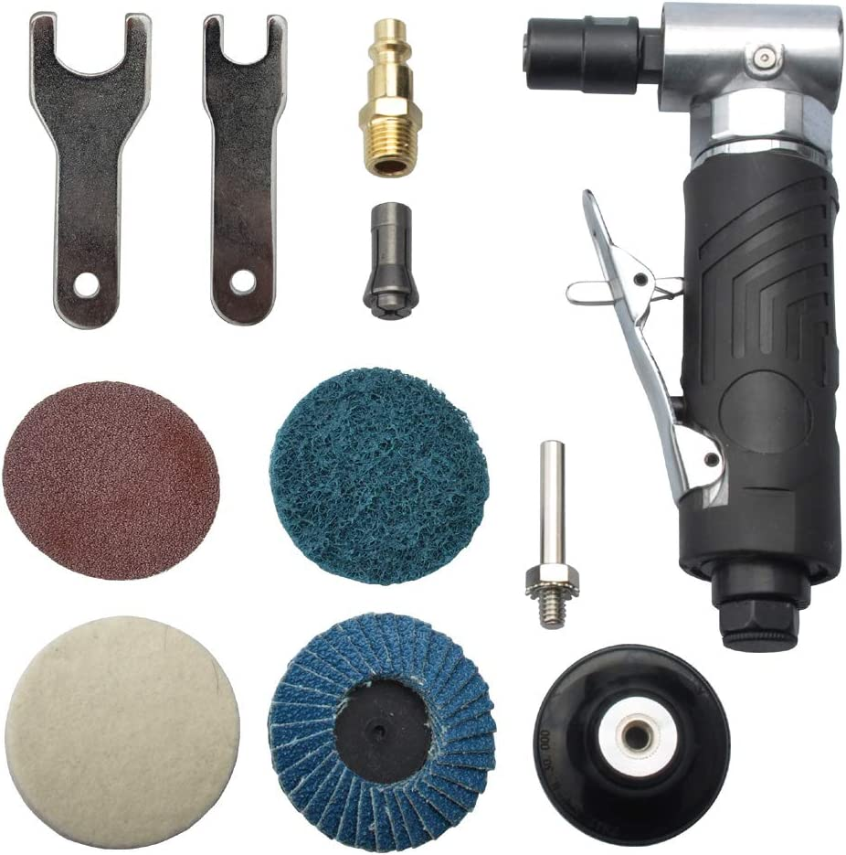 1 4 inch angle air die grinder with 4 pcs 2 roll lock sanding discs