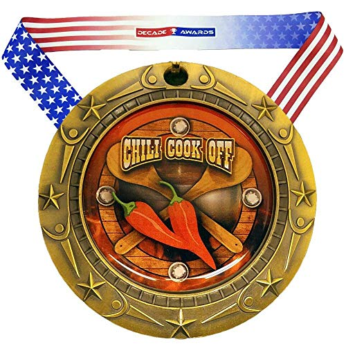 Decade Awards Chili Cook-Off World Class Medal - Gold   Chili Competition First Place Award   Includes Stars and Stripes American Flag V Neck Ribbon   3 Inch Wide