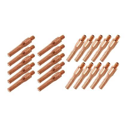 Sharplace 20x Boquilla Soldador Tubo de Contacto Gas Herramientas Gas Cobre Rojo Piezas de Equipo Industriales
