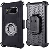 Compatible for Samsung Galaxy S8 Plus Case (Not for S8), PlusMall Rugged Shockproof Hybrid Protective Case Back Cover with Swivel Belt Clip Hard Holster Defender Case Ring Rotating Kickstand (Black)