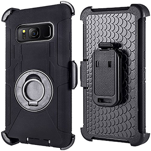 Compatible for Samsung Galaxy S8 Plus Case (Not for S8), PlusMall Rugged Shockproof Hybrid Protective Case Back Cover with Swivel Belt Clip Hard Holster Defender Case Ring Rotating Kickstand (Black) by PlusMall