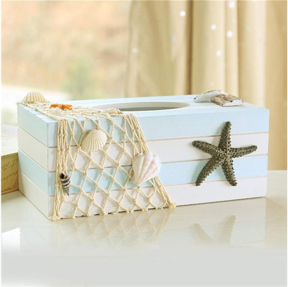 Kxrzu Caja de Bombeo de Papel Estuche de servilleta de Tejido de Caja de Tejido de Madera Estilo Marinero para Sala de Estar: Amazon.es: Hogar