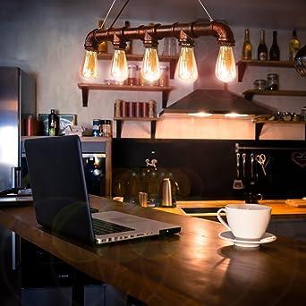 CCLIFE Wasserrohr Industrial Hängelampe Pendellampe Pendelleuchte  Deckenlampe Vintage Retro Hängeleuchte Für Küchen Esszimmer Schwarz E27  Leuchtmittel