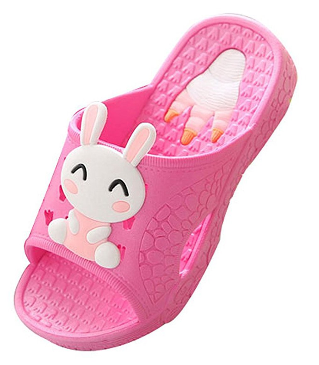 Blubi Toddler Little Kid Bunny Lightweight Shower and Poolside Sandal Beach Sandal (10 M, Rose)
