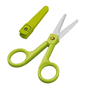 Ceramic Scissors-Healthy Bady Food Scissors and Kitchen Shears-Antibacterial Razor Sharp Ceramic Blade Scissors with Cover(Green)